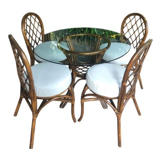 1970s Boho Chic Rattan Dining Set - 5 Pieces For Sale