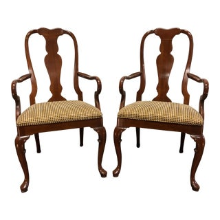 Solid Cherry Queen Anne Dining Captain's Arm Chairs by Fancher - Pair For Sale