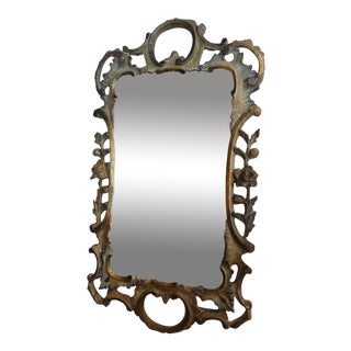Vintage Florentine Carved Wood Mirror For Sale