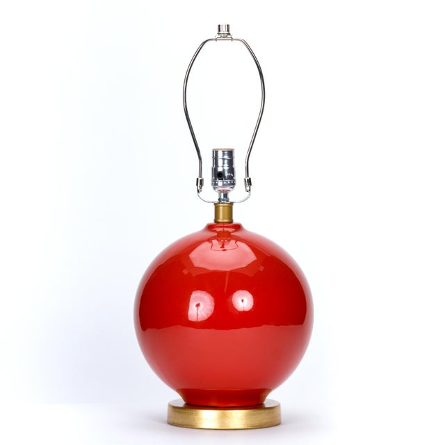 Traditional Casa Cosima Sphere Table Lamp, Persimmon/Pink Shade For Sale - Image 3 of 7
