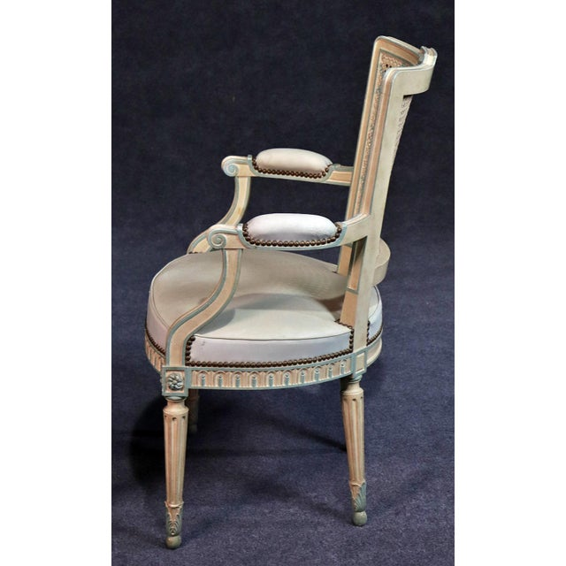 Set of 8 French Louis XVI Style Caned Back Dining Chairs For Sale - Image 10 of 13