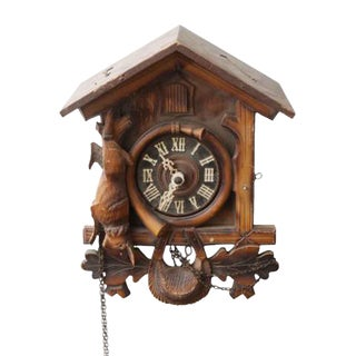 Carved Wooden Cuckoo Clock For Sale
