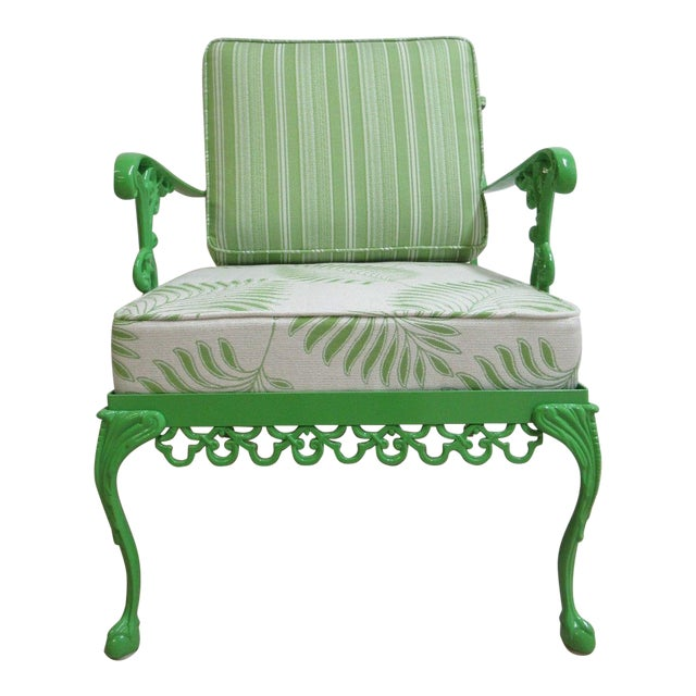 Vintage Green Aluminum Chippendale Ball & Claw Patio Chair For Sale