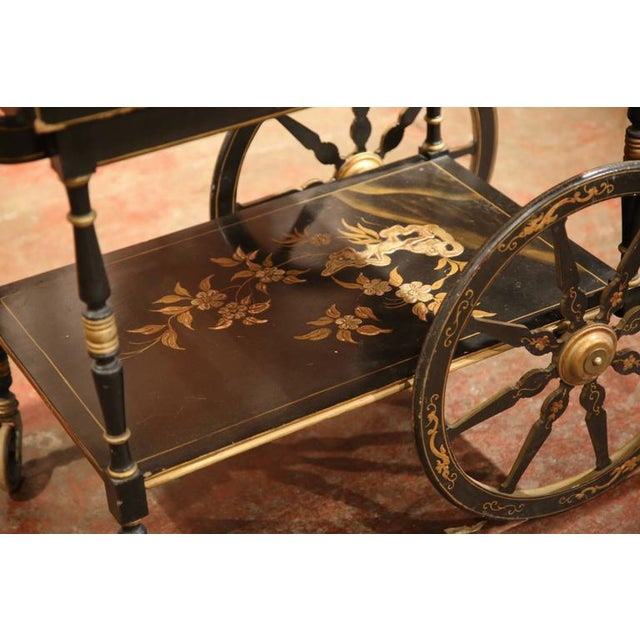Asian Early 20th Century French Chinoiserie Hand Painted Bar Cart For Sale - Image 3 of 10