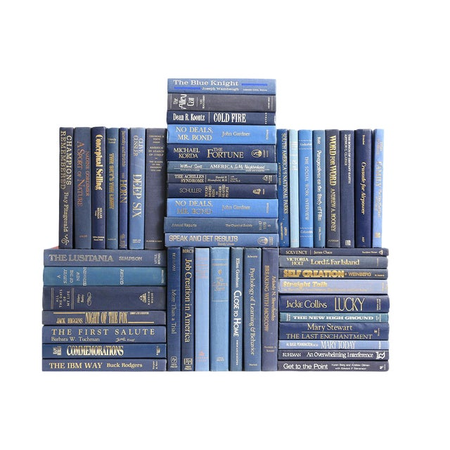 Retro Denim Book Wall : Set of Fifty Decorative Books in Shades of Blue For Sale