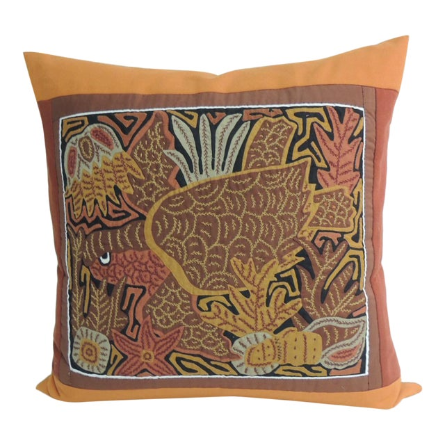 Tropical Sea Turtle Embroidery Decorative Pillow - Image 1 of 5