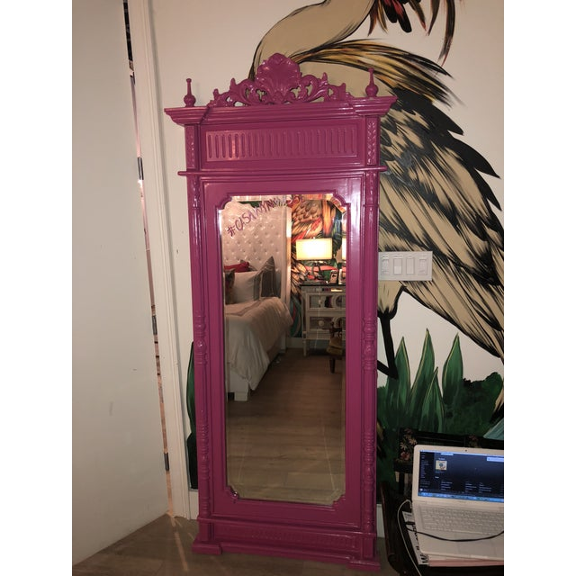 Hot Pink Lacquered Hand-Carved Solid Mahogany Floor Mirror For Sale - Image 9 of 9