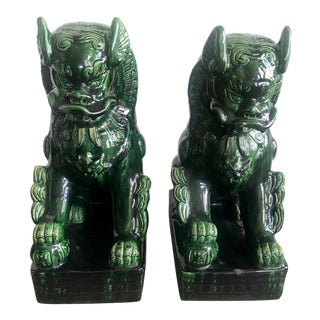 1950s Vintage Emerald Green Vintage Foo Dog Garden Statues - Pair For Sale