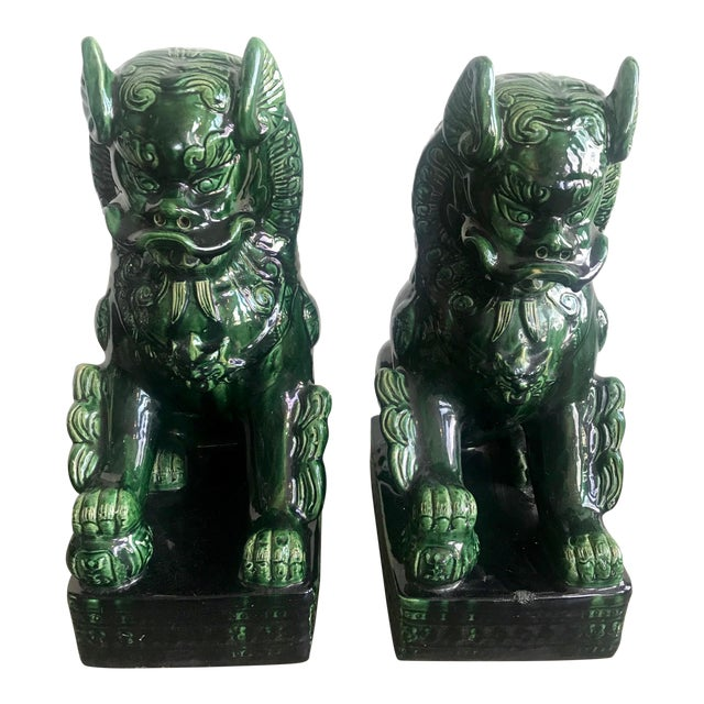 1950s Vintage Emerald Green Vintage Foo Dog Garden Statues - Pair For Sale