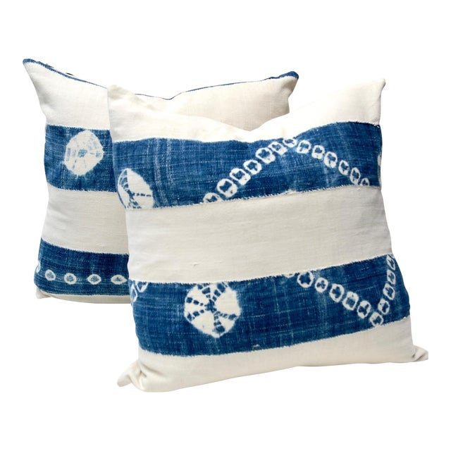 African Indigo Tie-Dye Pillow Pair For Sale