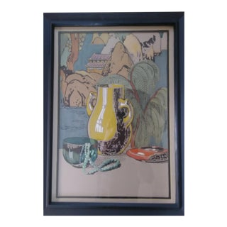 1920's Vintage Japanese Awaji Ceramics Painting For Sale