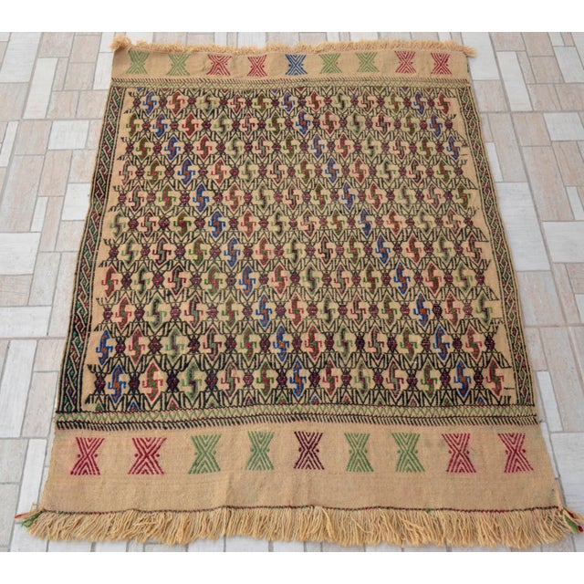 "Vintage Turkish Handmade Kilim Rug - A wool on wool, Turkish Kilim rug that is in used condition. Size: 36"" x 46""..."