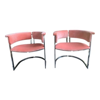 Vintage Italian Modern Chrome Chairs in Schumacher Velvet - a Pair For Sale