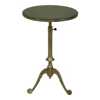 Round Marble Top Heavy Brass Base Regency Accent Table For Sale