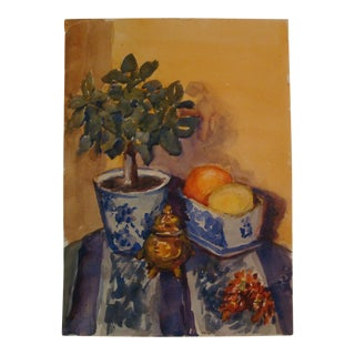 Chinoiserie Blue and White Citrus Topiary Still Life Painting