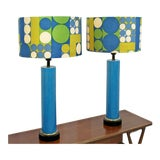 Image of Mid Century Modern Pair of Blue Ceramic Table Lamps Panton Shades 60s For Sale