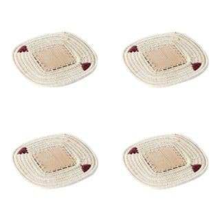 Square Coasters Cream & Plum - Set of 4 For Sale