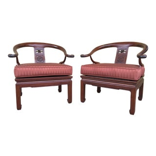 1970s Asian-Inspired Ming Rosewood Side Chairs - a Pair