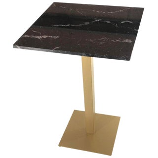 New Bistro High Table in Gilded Wrought Iron With Black Marble Top For Sale