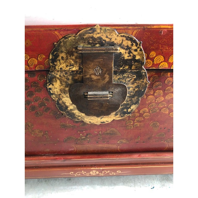 Antique Chinese Red and Gilt Lacquered Martial Arts Storage Trunk on New Stand For Sale In San Francisco - Image 6 of 8