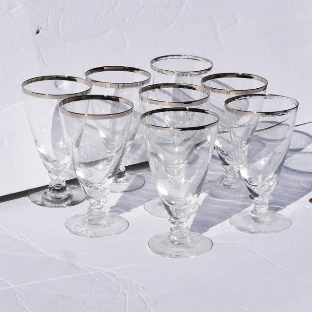 1930s 1930s Silver Rimmed Cocktail Glasses 8 Attributed to Dorothy Thorpe - Set of 8 For Sale - Image 5 of 5