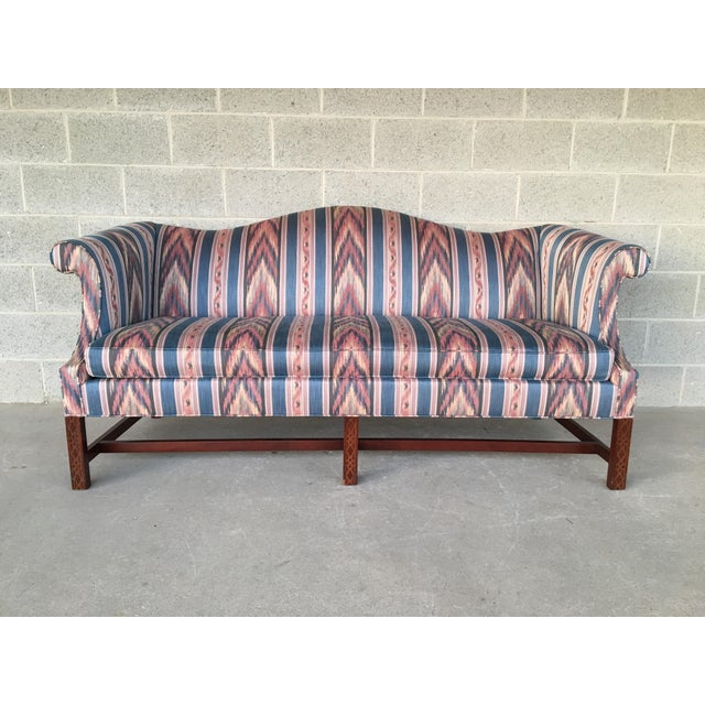 Hickory Chair Flame Stitch Chippendale Style Camel Back Sofa - Image 11 of 11