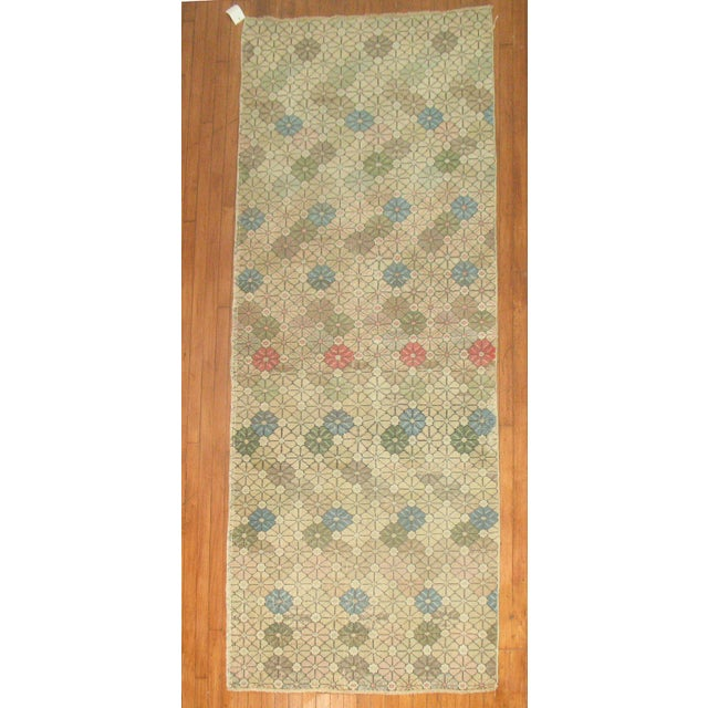 Art Deco style vintage Turkish runner rug with geometric pattern. Woven in central turkey, Circa 1960.