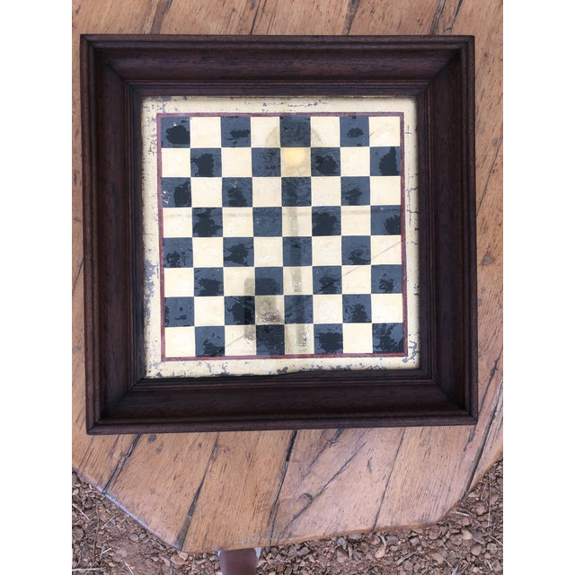 Metal Early 20th Century Reverse Painted Gold Foil Checkers/Chess Game Board For Sale - Image 7 of 7