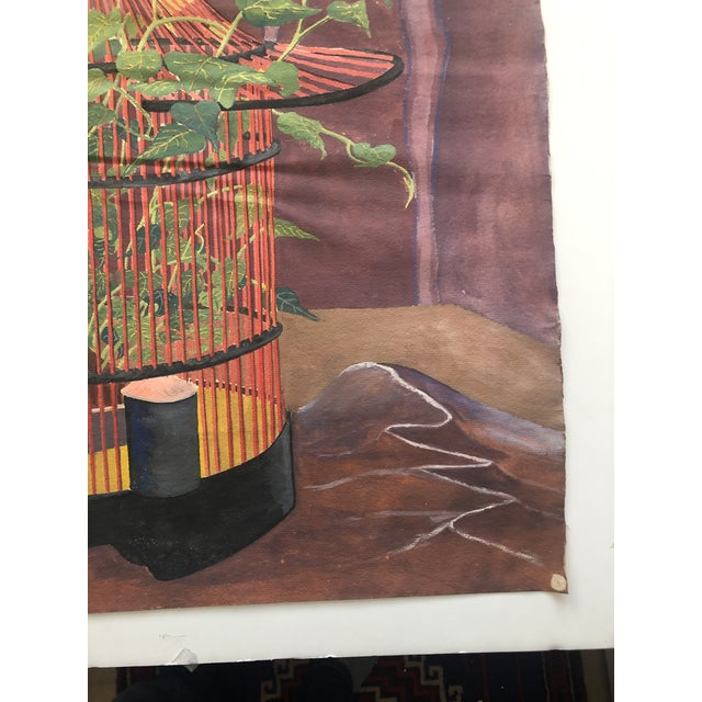 Mystical Birdcage Painting on Paper 1960s For Sale - Image 4 of 12