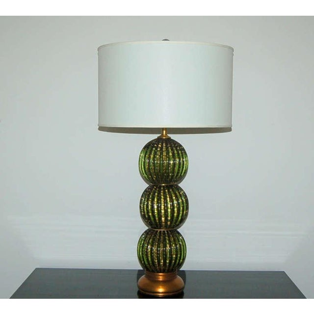 Hollywood Regency Vintage Murano Glass Stacked Ball Table Lamps Bubbles Green Gold For Sale - Image 3 of 9