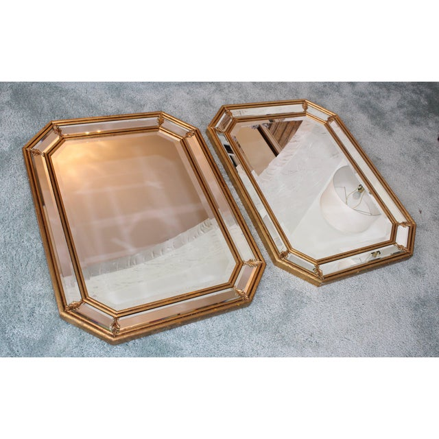 Mid 20th Century 1950s Italian Gilt Octagonal Mirrors For Sale - Image 5 of 11