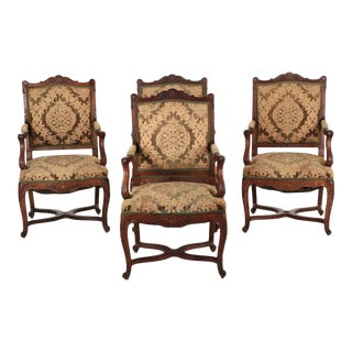 Rococo Revival Carved Walnut Antique Arm Chairs - Set of 4
