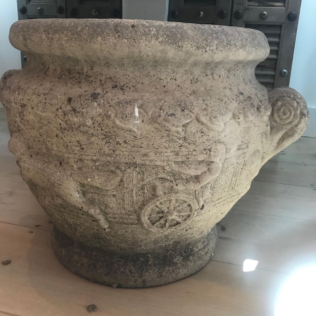 19th Century French Relief Stone Urns -A Pair For Sale In Portland, ME - Image 6 of 13