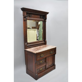 Mid 19th Century Americana Eastlake Burl Walnut Marble Top Dresser Chest With Mirror Preview
