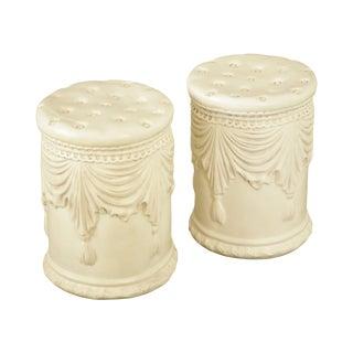 Pair White Garden Stools Swag & Tassel Design Classic Mediterranean Style For Sale