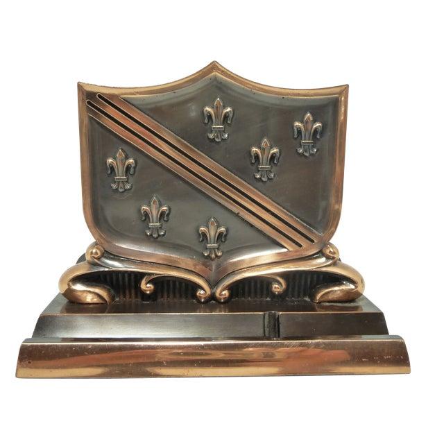 French Fleur De Lis Copper Finish Letter Holder - Image 1 of 7