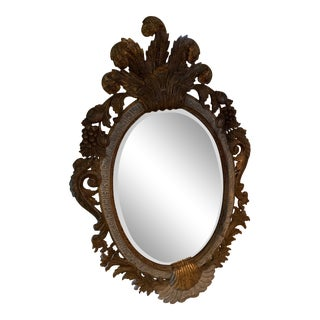 Italian Carved Shell & Parcel-Gilt Wood Mirror For Sale