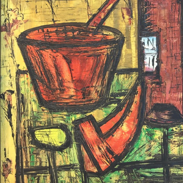 1960s Mid Century French School Still Life, in the Manner of Bernard Buffet For Sale - Image 5 of 8