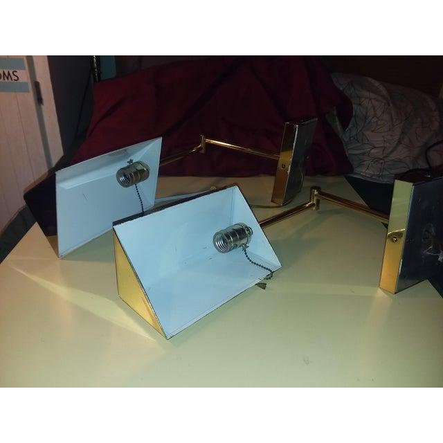 Koch & Lowy 1970s Koch & Lowy Brass Swing Arm Sconces - a Pair For Sale - Image 4 of 12