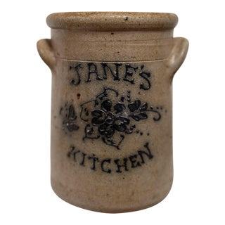 1970s Janes Kitchen Stoneware Crock For Sale