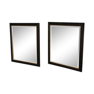 Regency Style Distressed Black & Gold Frame Rectangular Pair Beveled Mirrors For Sale