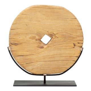 Early 20th Century Provincial Chinese Disc Wheel For Sale