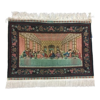 "Last Supper Silk Tapestry for Wall Hanging 1'8"" X 2'5"" For Sale"