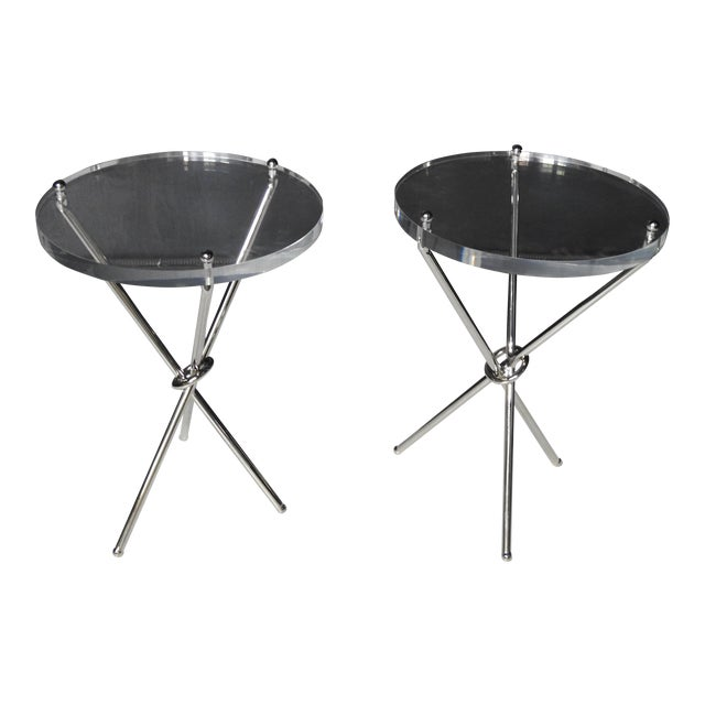 Campaign Style Chrome & Lucite Side Tables - A Pair For Sale