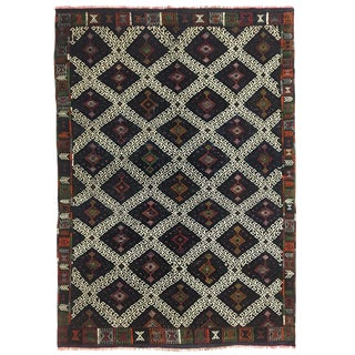 Striking Navy Vintage Kilim | Balikesir Cicim Flatweave For Sale