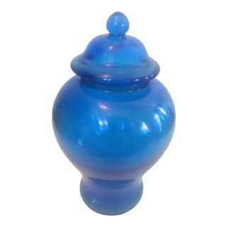 Qing Blue Peking Glass Lidded Urn Vase With Qianlong Mark For Sale