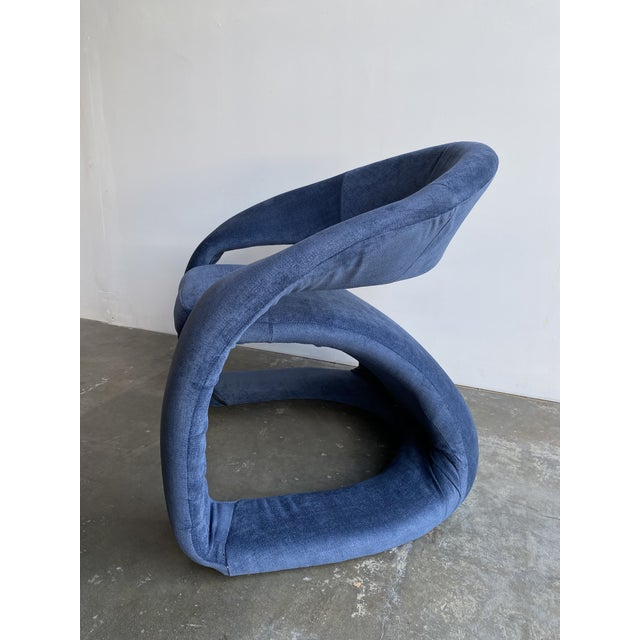 Textile 1980s Vintage Memphis Sculptural Cantilever Chairs and Ottoman For Sale - Image 7 of 13