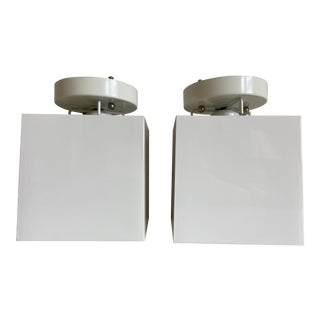 1960s Lucite Cube Flush Lights - a Pair For Sale