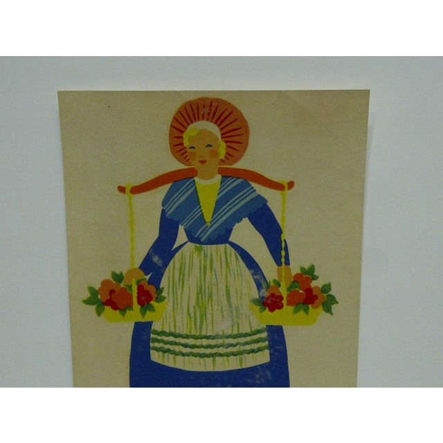 Americana The Meyercord Co. Chicago Flower Girl Decal / Wall Decoration For Sale - Image 3 of 6