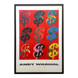 "Andy Warhol Estate Rare Vintage 1989 1st Edition Lithograph Print Large Framed Pop Art Poster "" Dollar Signs "" 1982 For Sale"
